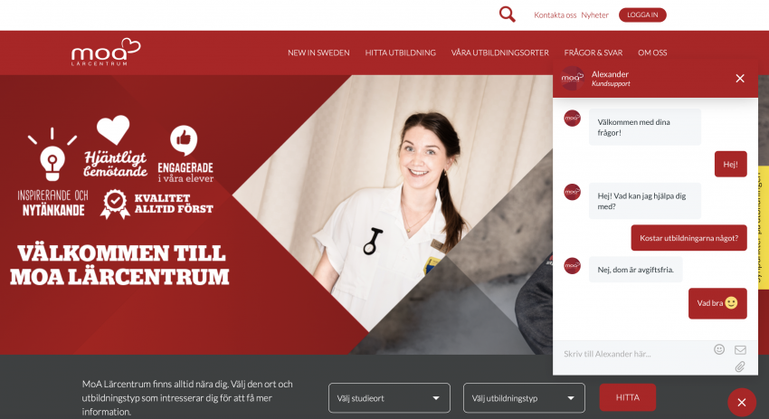 MoA ökar tillgängligheten med webbchatt!
